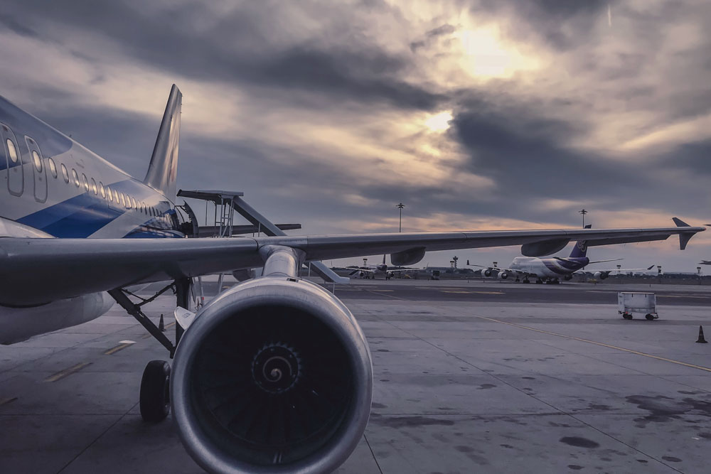 Airport, airplane, evening sky