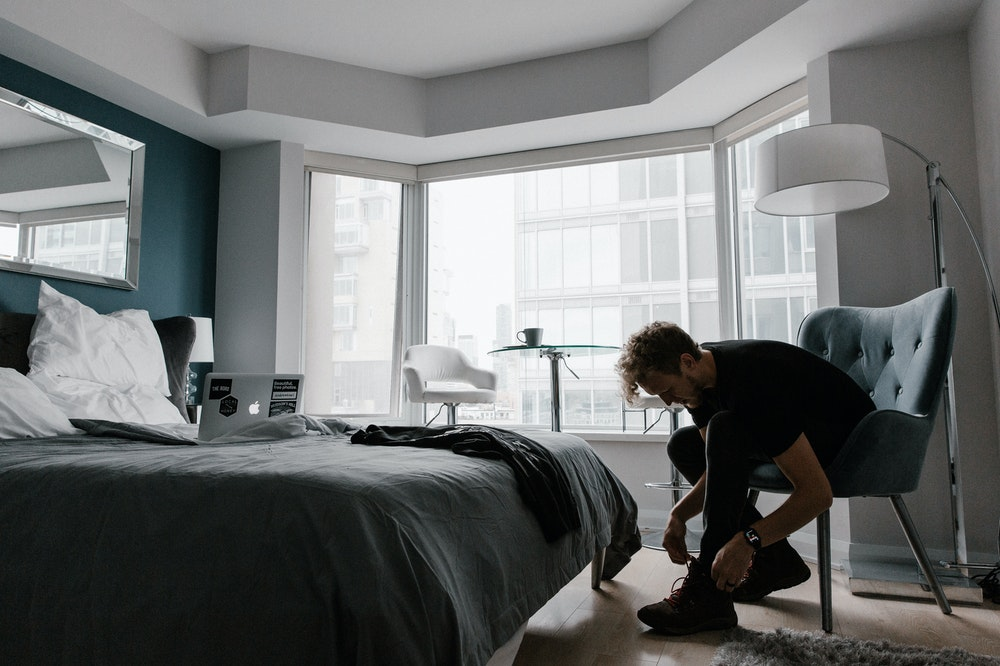 Man in a hotel room