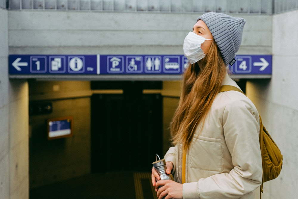Young woman wearing a face mask