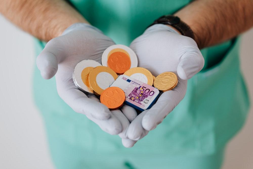 Doctor holding chocolates