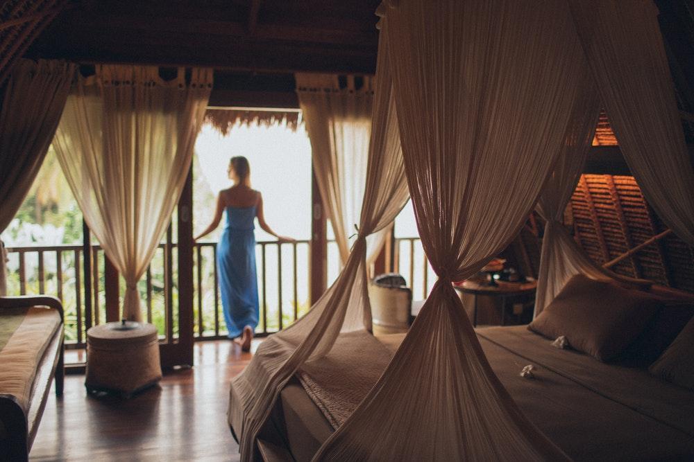 Woman on a balcony in hotel
