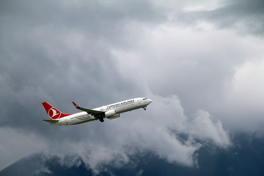 Turkish Airlines airplane in the air