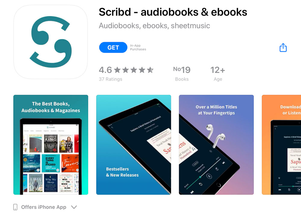 Scribd app for mobile and tablet