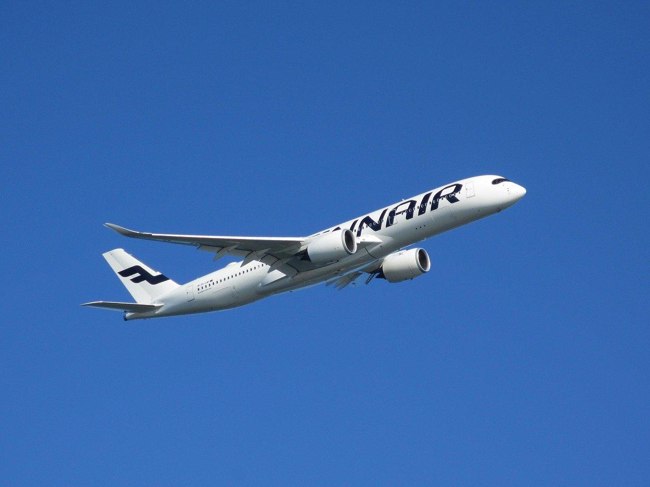 Finnair airplane in the air