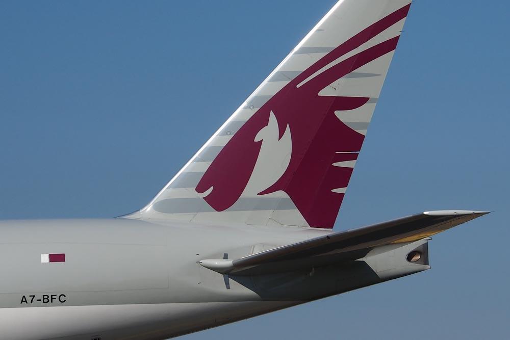 Qatar Airways airplane in the air