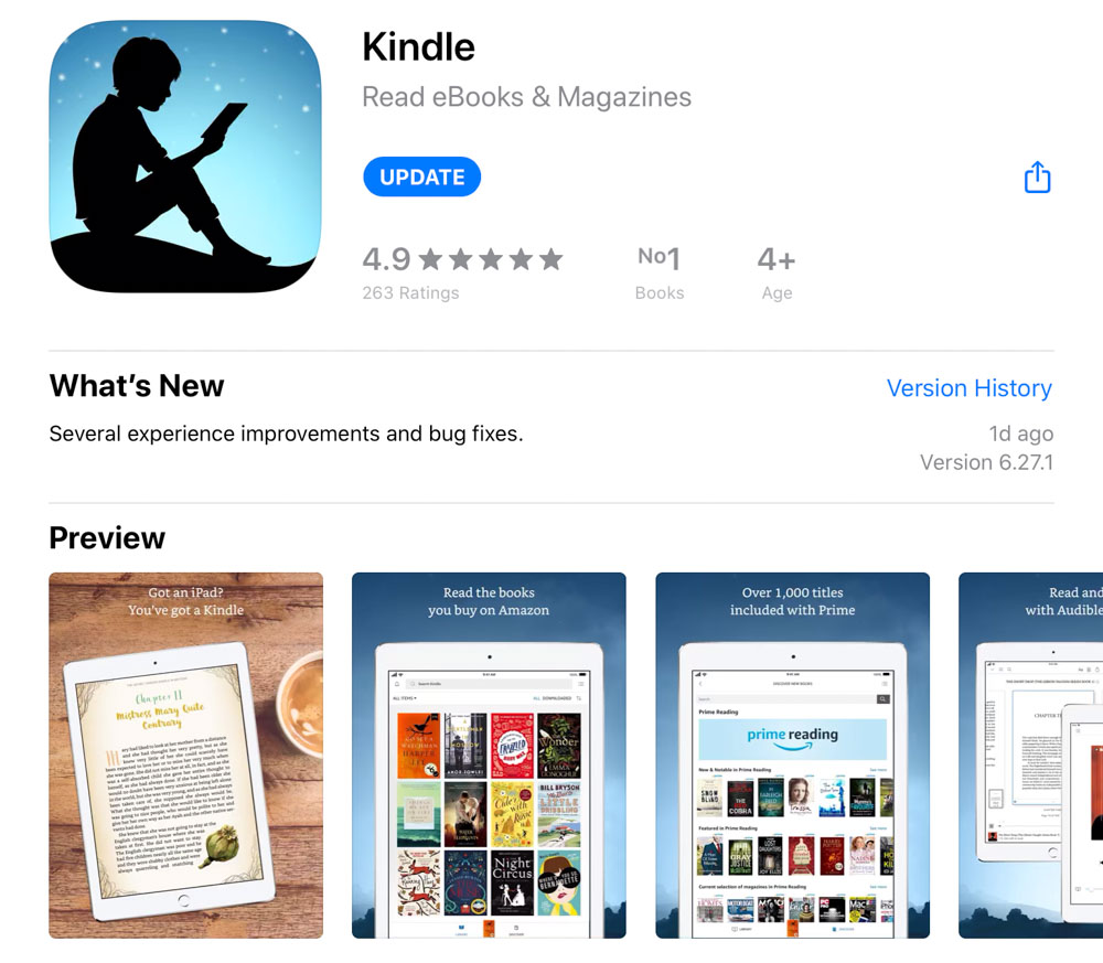 Kindle app for mobile and tablet