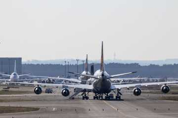 Airplanes on a runway at the airport