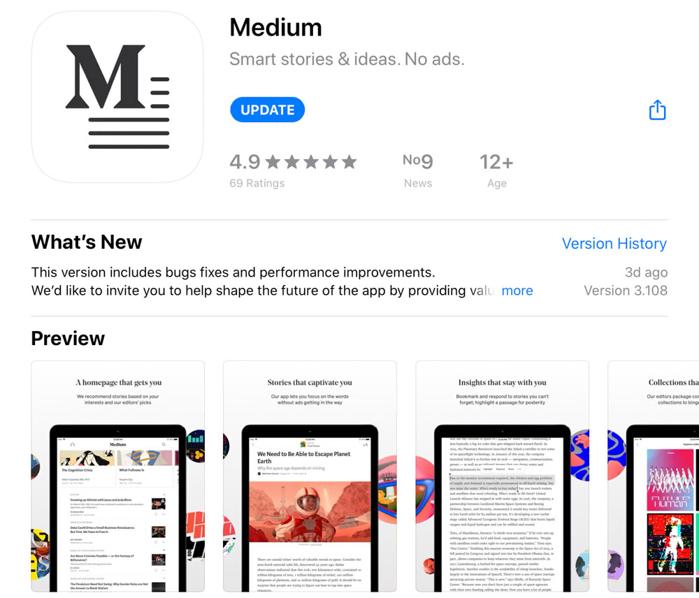 Medium app for mobile and tablet