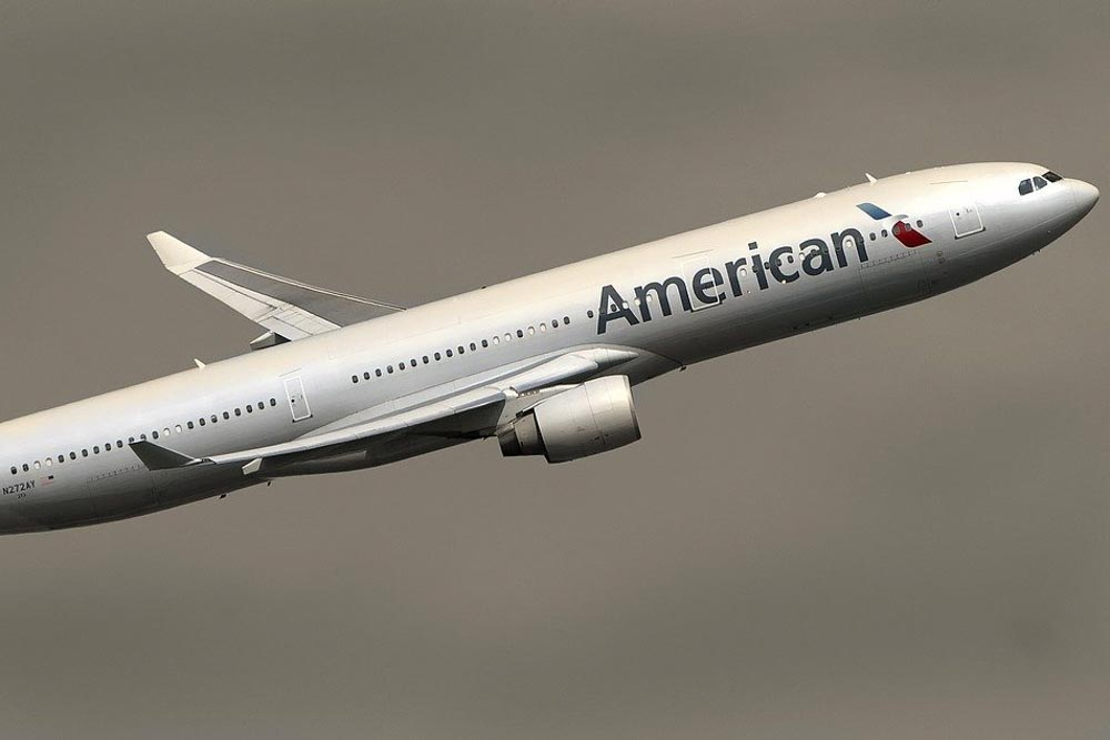 American Airlines airplane in the air