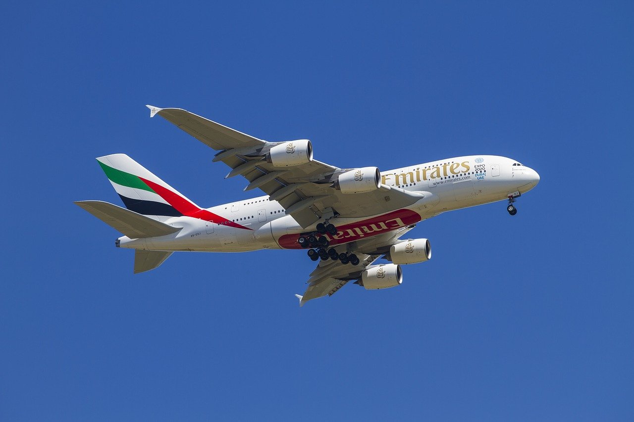 Emirates airplane in the air