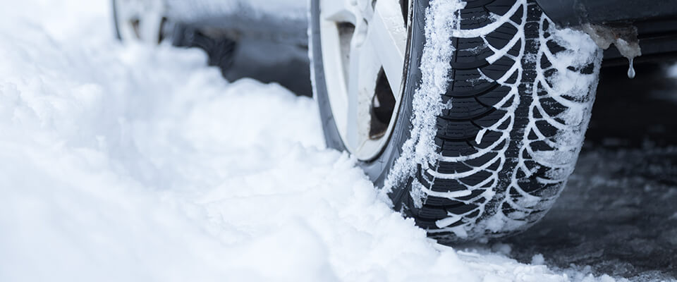 Car tyre in the snow