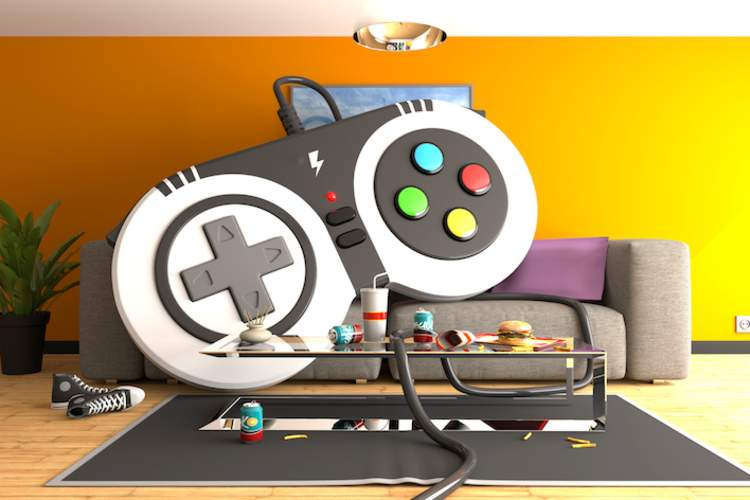 Huge gamepad controller on a sofa