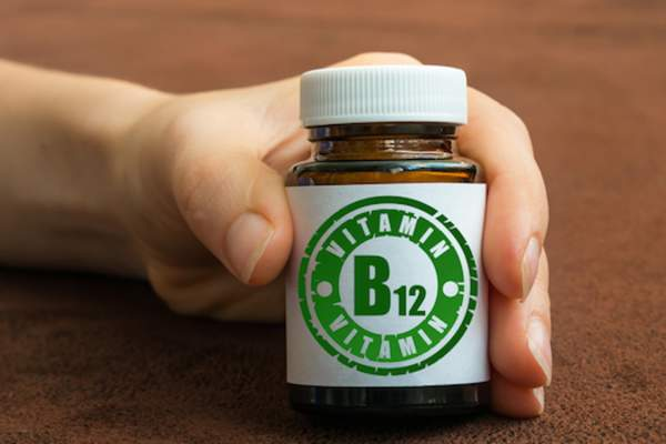 bottle of B12 supplements