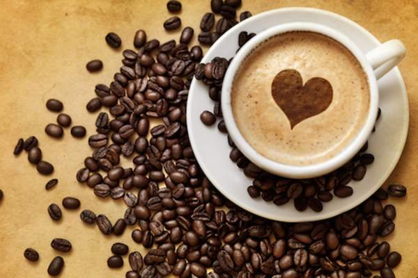 heart in coffee