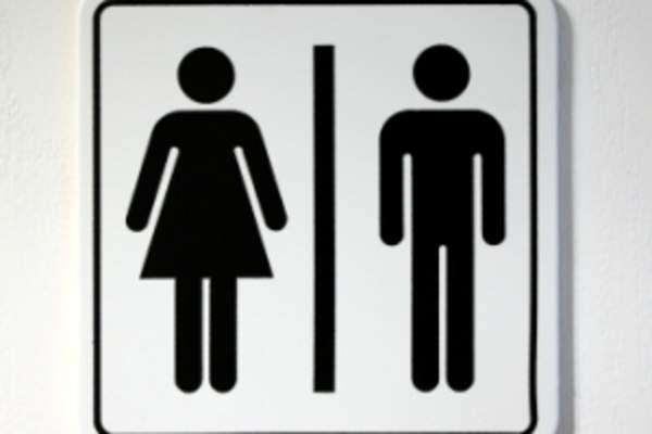 Restroom sign men and women.