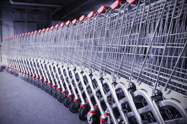 Standardization concept shopping carts in a row