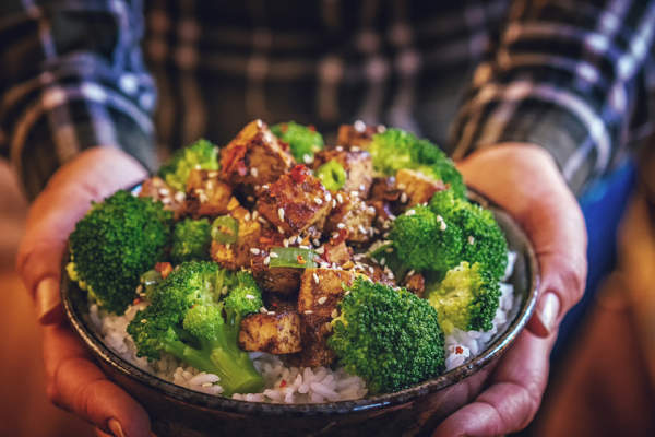 Roasted tofu and broccoli over rice.