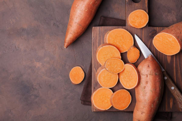 whole and cut up sweet potatoes