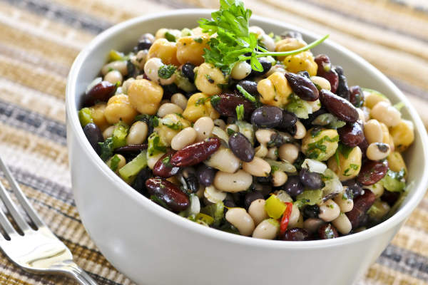 Bean salad in bowl.