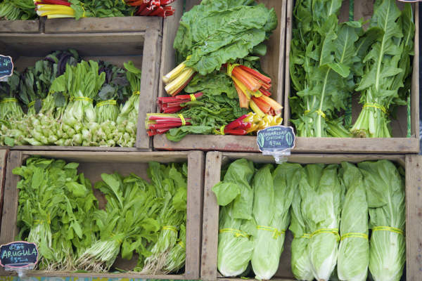 a bounty of leafy greens at farmers market.