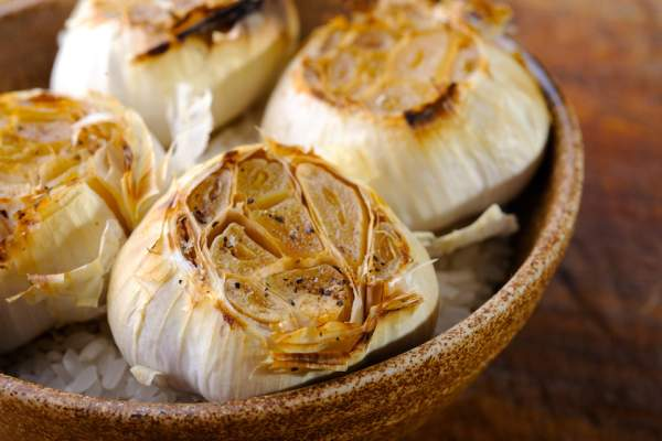 Close-up on roasted garlic.