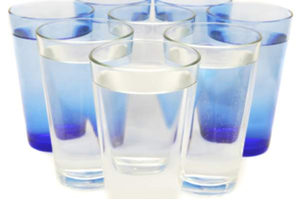 Eight glasses of water.