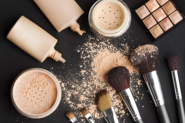 Foundation and concealer makeup cosmetics.