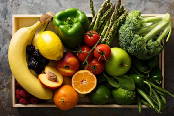Box of fresh fruits and vegetables