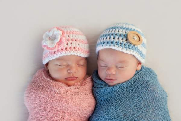 Newborn twin girl and boy.