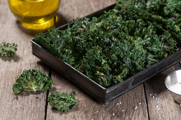Roasted kale chips with sea salt.