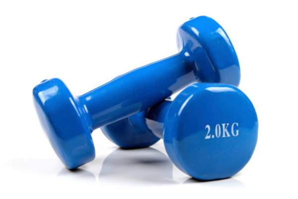 Blue hand weights.