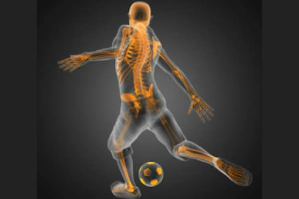 Skeleton highlighted in young soccer player