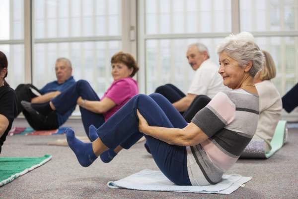 Older adults in exercise class.