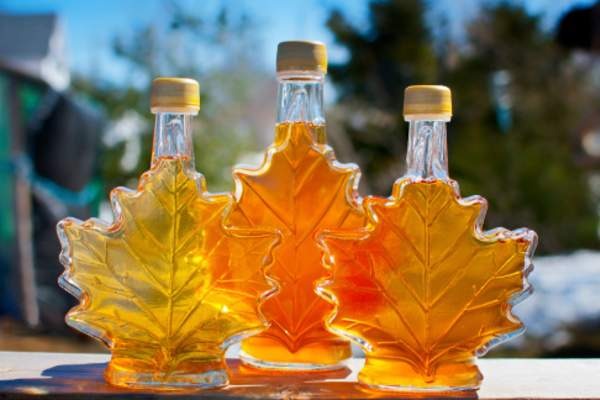 Maple syrup bottles.