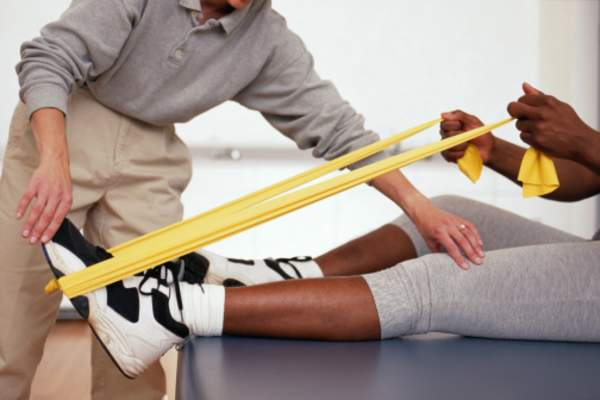 Resistance bands in physical therapy.
