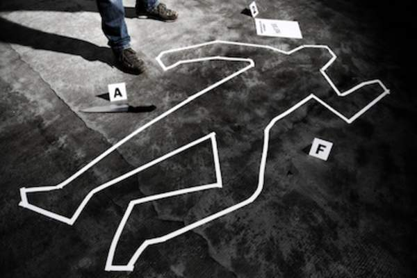 Chalk outline at crime scene