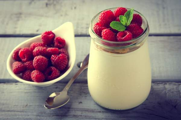 Greek yogurt and raspberries.