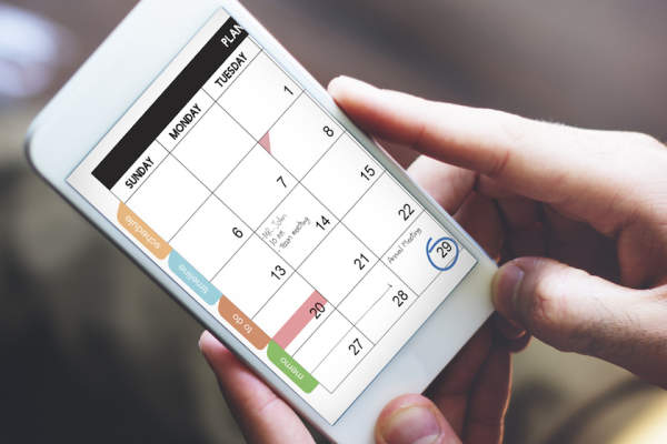 Calendar app open on smartphone.
