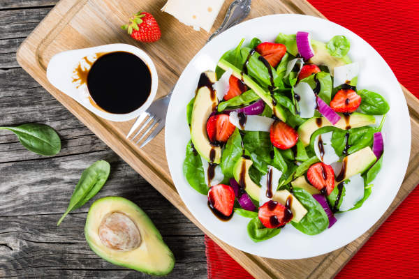 Balsamic vinegar and avocado salad.