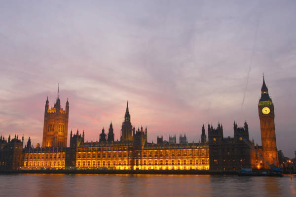 Parliament at dusk.
