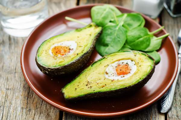 Avocado with poached egg