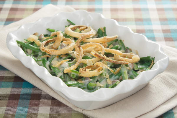 Tray of green bean casserole.
