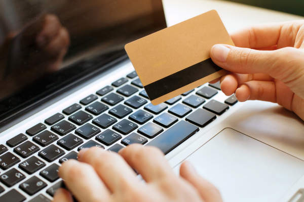 Ordering with credit card online.