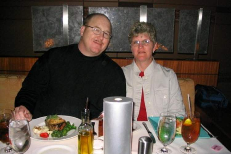 Rick Phillips and his wife having dinner on Valentine's Day.
