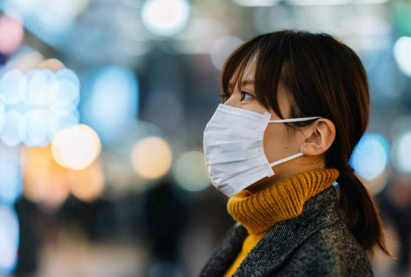 Young Asian woman wearing a mask against germs.