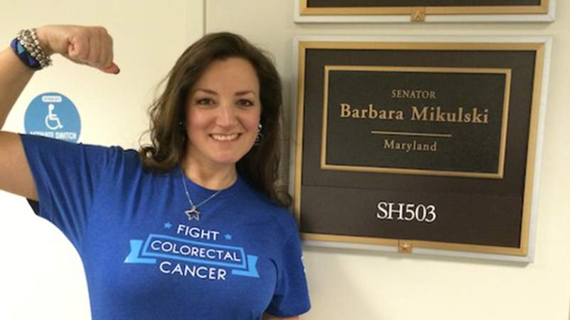 Trish outside her senator, Barbara Mikulski's, office, during an advocacy day on Capitol Hill.