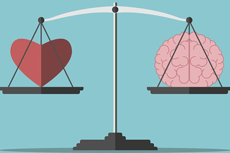 Heart and brain balance illustration.