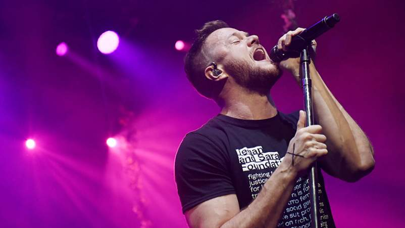 Frontman Dan Reynolds of Imagine Dragons performs during the Origins Experience pop-up concert at The Chelsea at The Cosmopolitan of Las Vegas.