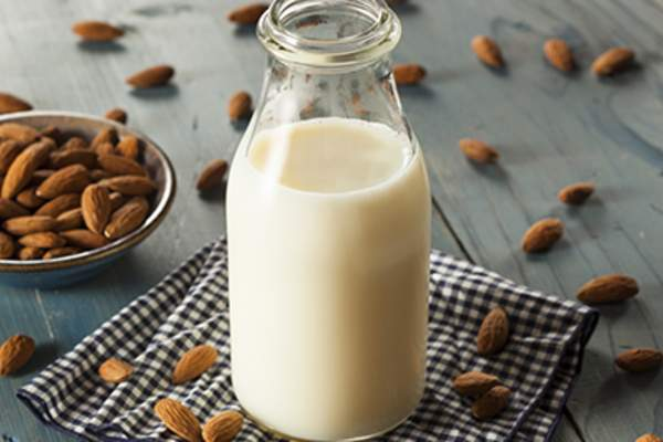 Almond milk and almonds.