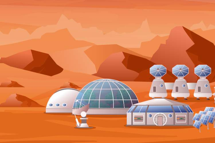 Martian outpost, illustration.